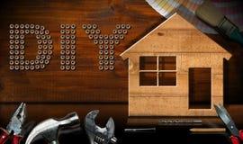 Diy-Symbol - Arbeits-Werkzeuge und vorbildliches House lizenzfreies stockbild