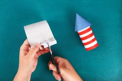 Diy 4th July petard toilet sleeve, paper, cardboard color American flag red blue white stock images
