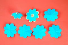 Diy three-dimensional 3d greeting card with flowers for mothers day on a Living coral background. 13 Diy three-dimensional 3d greeting card with flowers for stock photo