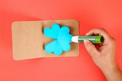 Diy three-dimensional 3d greeting card with flowers for mothers day on a Living coral background. 33 Diy three-dimensional 3d greeting card with flowers for stock images