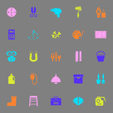 DIY tool color icons on gray background Royalty Free Stock Images