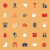 DIY tool icons with reflect on white background Royalty Free Stock Images