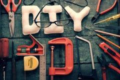 Diy tools background, equipment make handmade product Royalty Free Stock Photo