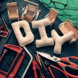 Diy tools background, equipment make handmade product Royalty Free Stock Photos