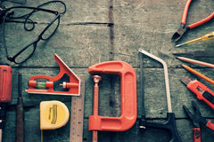 Diy tools background, equipment make handmade product Royalty Free Stock Images