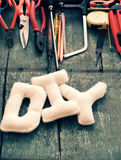 Diy tools background, equipment make handmade product Stock Images