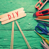 Diy tools background, equipment make handmade product Stock Photo