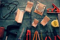 Diy tools background, equipment make handmade product Stock Image