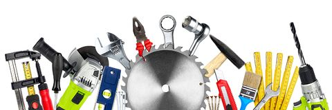DIY tools collage concept isolated Royalty Free Stock Photo