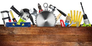 DIY tools collage wooden plank concept Royalty Free Stock Photo