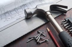 DIY tools horzontal still life Stock Photo