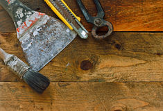 Diy tools on old rustic work bench. Various diy tools on old rustic work bench Royalty Free Stock Image