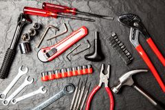 DIY Tools set. With different types of wrenches, hammer and pliers stock images