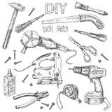 DIY Tools Set. Hand drawn set of instruments. Monochrome fretsaw, turn-screw, angle grinder isolated on white. Tool kit DIY theme. Vector sketch royalty free illustration