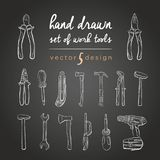 DIY tools. Vector set of hand-drawn work tools. Tools Repair Icons for work. Working tools, sketch vector illustration Royalty Free Stock Photos