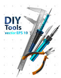Diy tools. On white background. Set realistic illustrations Stock Image