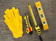 DIY tools on wooden background. Top view Royalty Free Stock Photo