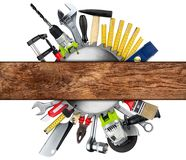 DIY tools wooden plank concept Stock Photography
