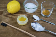 DIY toothpaste with ingredients Royalty Free Stock Images