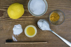 DIY toothpaste with ingredients Royalty Free Stock Image