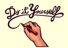 DIY! Tun Sie es sich, Vektorschreibenshandhandgemachtes kreatives Schreibens-Kunstfertigkeitskonzept Lizenzfreies Stockfoto