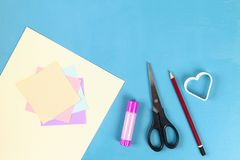 DIY Valentines Day greeting card on 14 february. DIY Valentines greeting card blue wooden background. Gift ideas day love, February 14, Valentines Day. Handmade stock photo