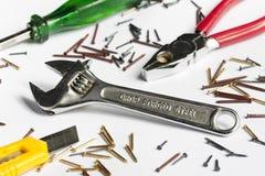 DIY-Werkzeuge auf Weiß Lizenzfreies Stockbild
