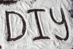 DIY word painted on the flour royalty free stock photos