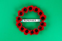 Diy wreath red poppy Anzac Day, Remembrance, Remember, Memorial day made of cardboard egg trays. 16 Diy wreath red poppy Anzac Day, Remembrance, Remember royalty free stock photo