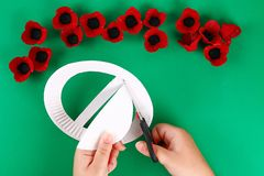Diy wreath red poppy Anzac Day, Remembrance, Remember, Memorial day made of cardboard egg trays. 9 Diy wreath red poppy Anzac Day, Remembrance, Remember royalty free stock photos