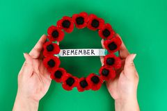 Diy wreath red poppy Anzac Day, Remembrance, Remember, Memorial day made of cardboard egg trays. 15 Diy wreath red poppy Anzac Day, Remembrance, Remember stock photography