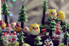 Diy Xmas ornament to decor in winter holiday. Amazing xmas background from clay art, snowman, owl, bird, christmas tree diy from clay material, wonderful craft Royalty Free Stock Images