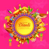 Diya καψίματος στο ευτυχές υπόβαθρο διακοπών Diwali για το ελαφρύ φεστιβάλ της Ινδίας διανυσματική απεικόνιση