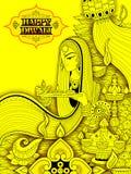 Diya дамы горящее на счастливой предпосылке doodle праздника Diwali для светлого фестиваля Индии Стоковое Изображение