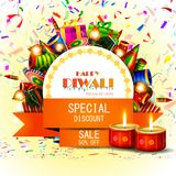 Diya adornado con la galleta para el fondo feliz de la oferta de la venta de las compras del día de fiesta de Diwali ilustración del vector