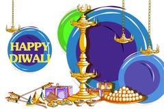 Diya adornado con la galleta para el fondo feliz del día de fiesta de Diwali ilustración del vector