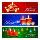 Diya adornado para el fondo feliz de Diwali ilustración del vector