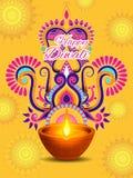 Diya adornado para la celebración feliz del día de fiesta del festival de Diwali del fondo del saludo de la India ilustración del vector