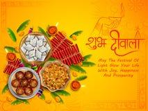 Diya ardente com doce sortido e petisco no fundo feliz do feriado de Diwali para o festival claro da Índia ilustração royalty free