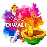 Diya ardente da aquarela no fundo feliz do feriado de Diwali para o festival claro da Índia Fotografia de Stock Royalty Free