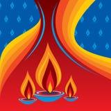 Diya ardente no fundo do feriado de Diwali ilustração royalty free