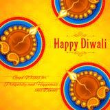 Diya ardente no fundo feliz do feriado de Diwali para o festival claro da Índia Imagem de Stock Royalty Free