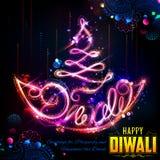 Diya ardente no fundo feliz do feriado de Diwali para o festival claro da Índia Fotografia de Stock Royalty Free