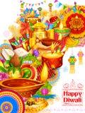 Diya ardente no fundo feliz do feriado de Diwali para o festival claro da Índia Fotos de Stock Royalty Free