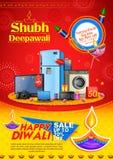 Diya ardiente en el fondo feliz del anuncio de la promoción de venta del día de fiesta de Diwali para el festival ligero de la In stock de ilustración