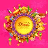 Diya ardiente en el fondo feliz del día de fiesta de Diwali para el festival ligero de la India ilustración del vector