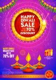 Diya brûlant sur le fond heureux de publicité de promotion des ventes de vacances de Diwali pour le festival léger de l'Inde Photographie stock