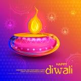 Diya brûlant sur le fond heureux de vacances de Diwali pour le festival léger de l'Inde Photos stock