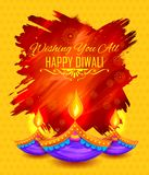 Diya brûlant sur le fond heureux de vacances de Diwali pour le festival léger de l'Inde Photo libre de droits