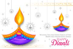 Diya brûlant sur le fond heureux de vacances de Diwali pour le festival léger de l'Inde Images libres de droits
